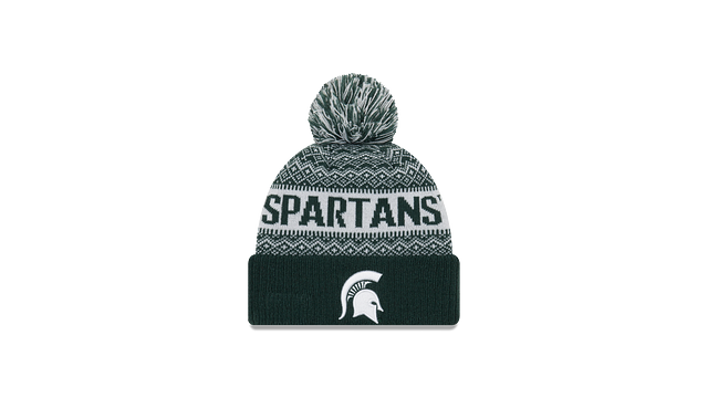 MICHIGAN STATE SPARTANS WINTRY POM KNIT 3 quarter left view