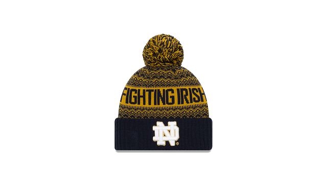 NOTRE DAME FIGHTING IRISH WINTRY POM KNIT 3 quarter left view