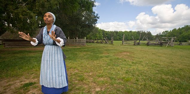 Interpreter Kitty Wilson-Evans at Historic Brattonsville