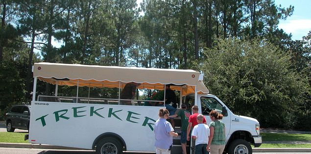 The Trekker minibus tours historical sites at Brookgreen Gardens in Myrtle Beach