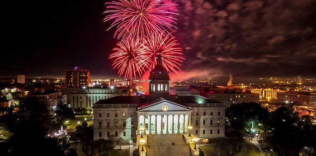 Fireworks at the State House in Columbia, South Carolina