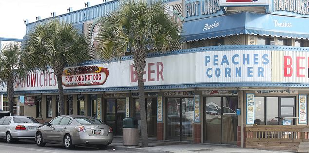 Beer and Hotdogs at Peaches Corner