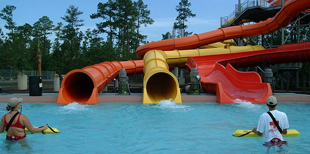 Water slides at Whirlin' Waters Adventure Waterpark