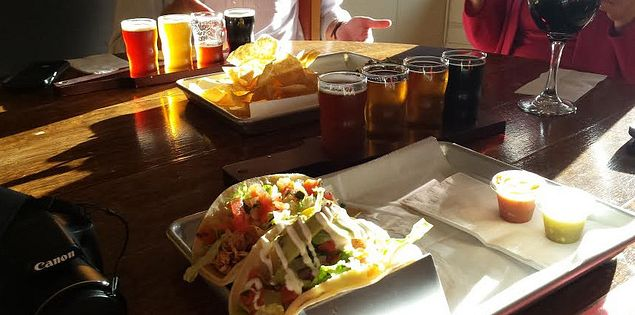 Drinks and food at Growler Haus