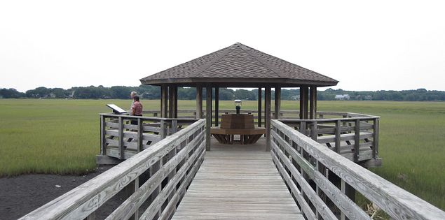 The boardwalk and observation deck at Fish Haul Creek Park overlooking the marsh and Port Royal Sound on Hilton Head Island