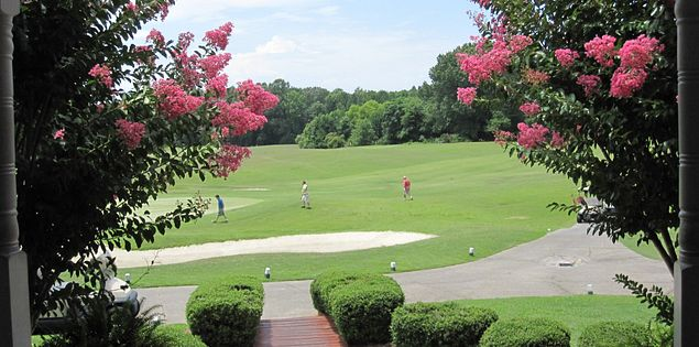 The 18th green from the clubhouse of Legends Oaks Golf Course