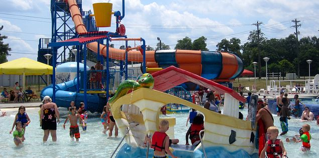 Water slides at Orangeburg County Aquatic Park