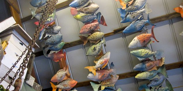 Fish sculptures by Chase Allen