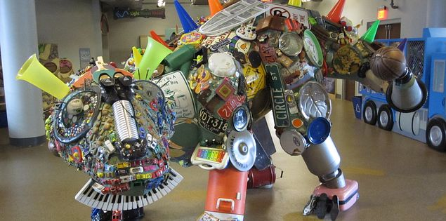 A dinosaur created from recycled items at the Children's Museum of the Upstate in Greenville, SC.