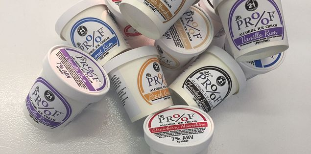 JB's Proof alcoholic Ice Cream