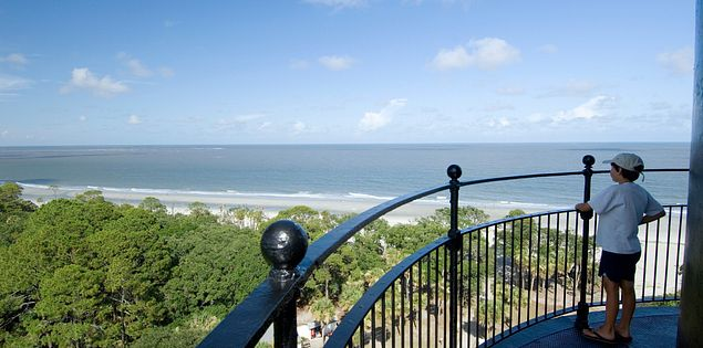 The coast from the Hunting Island Lighthouse