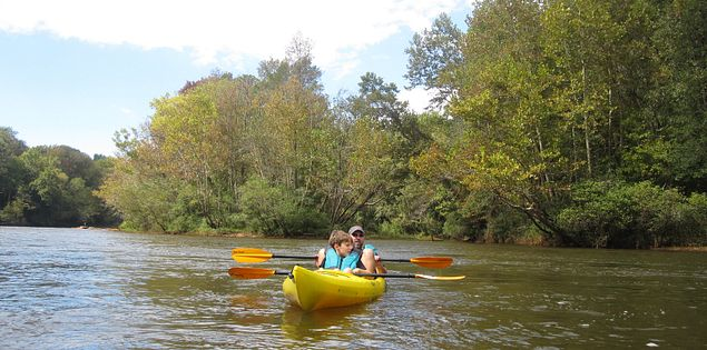 Kayakers on the Saluda River in Columbia