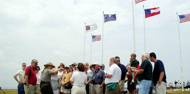 Crowd after a tour at Fort Sumter