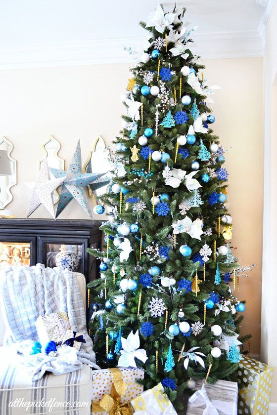 how to recreate heathers blue white gold christmas tree - Blue And Gold Christmas Decorations