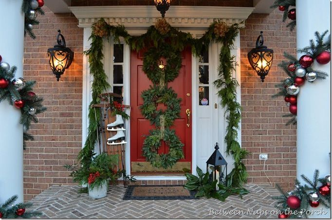 christmas door decorations with a country style charm - Decorating Porch For Christmas Country