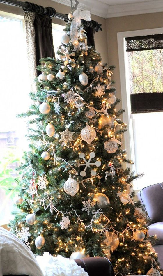 how to recreate kristins wintry silver white christmas tree - White Christmas Decorating Theme
