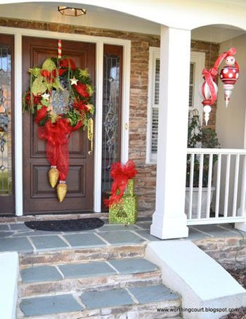 this beautiful porch featured on the worthing court blog exemplifies how everyday decorations at your door front can be put to good use throughout the - Beautiful Christmas Door Decorations