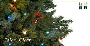 Artificial Christmas tree with Color + Clear Lights