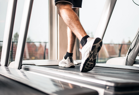 Someone walking on a treadmill