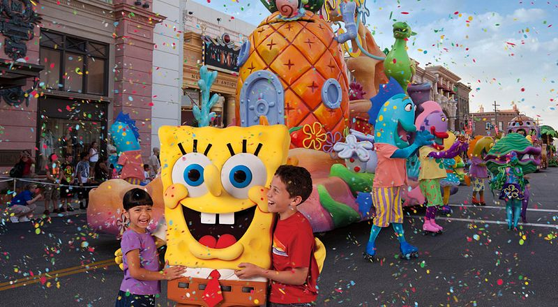 SpongeBob SquarePants and friends at Universal's Superstar Parade.