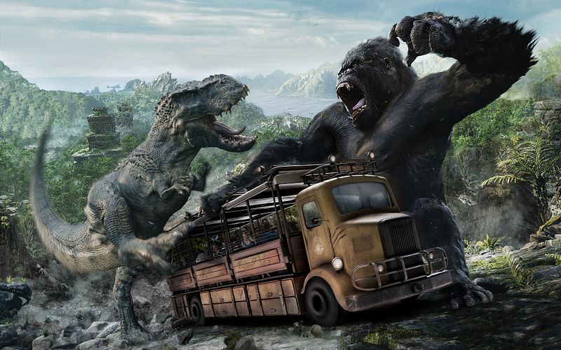 A passenger filled bus is caught in the middle as King Kong battles a Tyrannosaurus Rex.