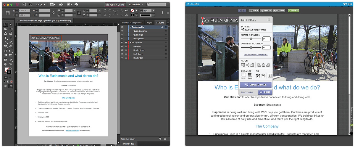 Widen Templates and InDesign Live Editor Views