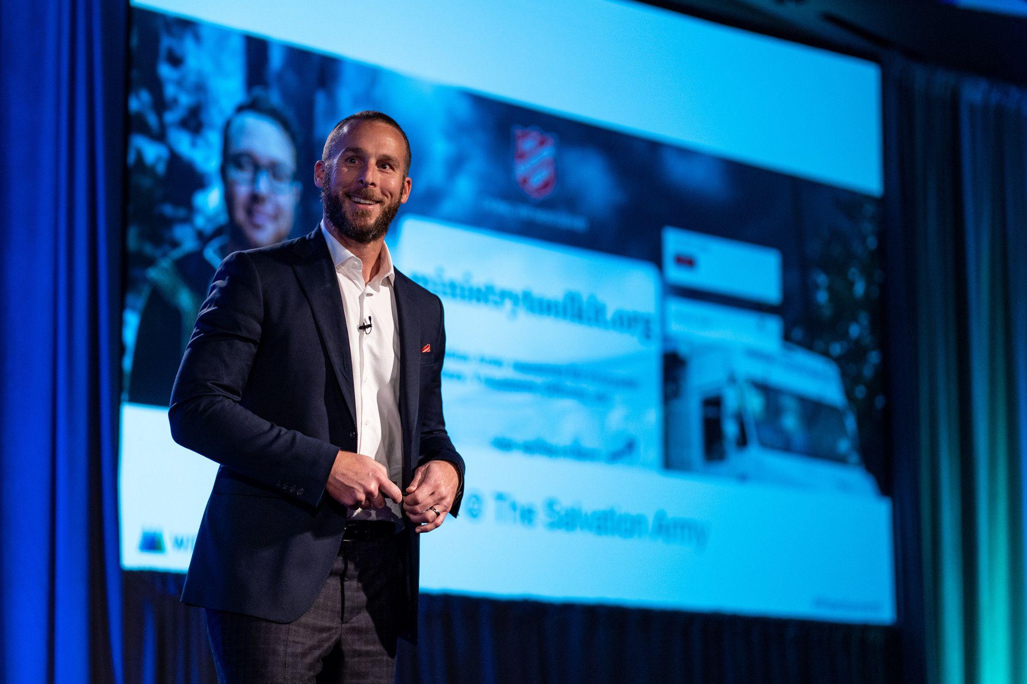 Matthew Gonnering speaking at the Widen Summit