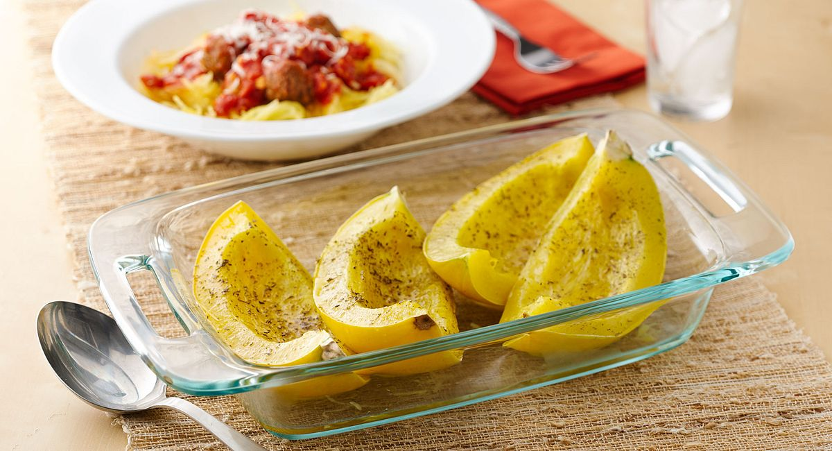 Roasted Spaghetti Squash with Tomato-Garlic Sauce and Chicken Meatballs