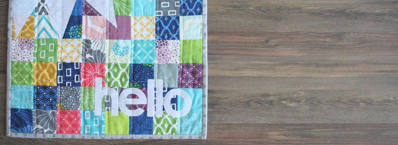 Scrappy Hello Bunting Mini Quilt
