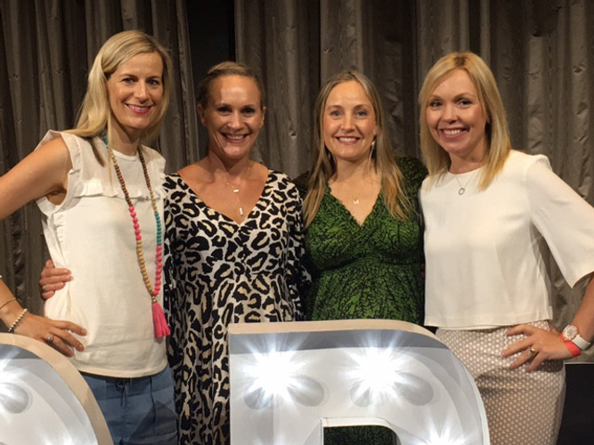 Alicia (pregnant with Samuel) and her three direct RVPs: Tyla Millerd, Suzanne Aron, and Samantha Donovan.