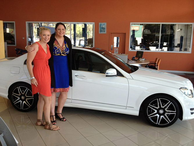 ERVP Chelsea Launer and ERVP Rebecca McIntyre the day I received my Mercedes. April 13th 2013