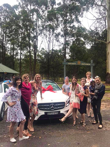 The Happy Dream Team at Sarah's unicorn-themed car presentation in Sydney, NSW.