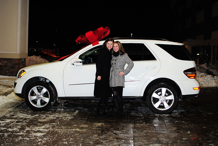 NVP Carrie Kane and Aimee, in front of Aimee's new Mercedes-Benz!