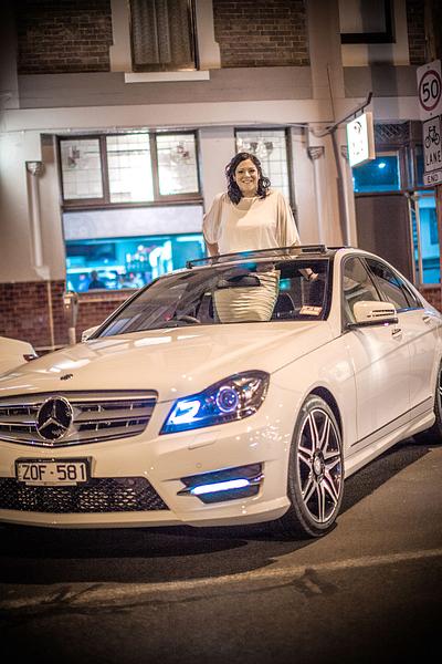 ERVP Rebecca McIntyre in my Mercedes at my car presentation }}