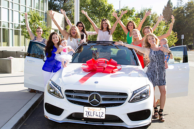 Morgan with her new Mercedes-Benz and some of her amazing team! }}