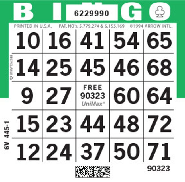 UniMax 1ON Green CMYK Bingo Paper/UniMax Cuts/1ON Cuts