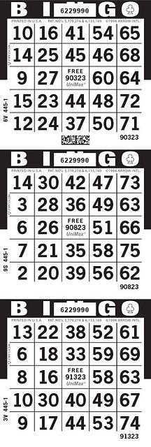 UniMax 3V Black CMYK Bingo Paper/UniMax Cuts/3V Cuts