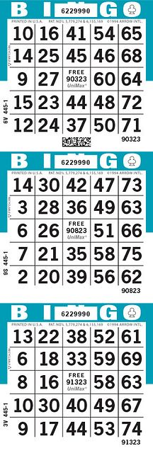 UniMax 3V Blue CMYK Bingo Paper/UniMax Cuts/3V Cuts