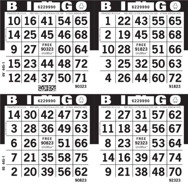 UniMax 4S Black CMYK Bingo Paper/UniMax Cuts/4S Cuts