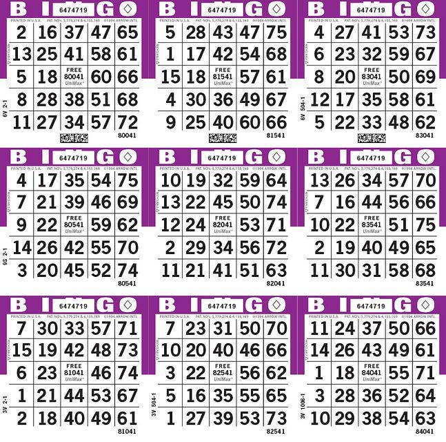 UniMax 9S Purple CMYK Bingo Paper/UniMax Cuts/9S Cuts