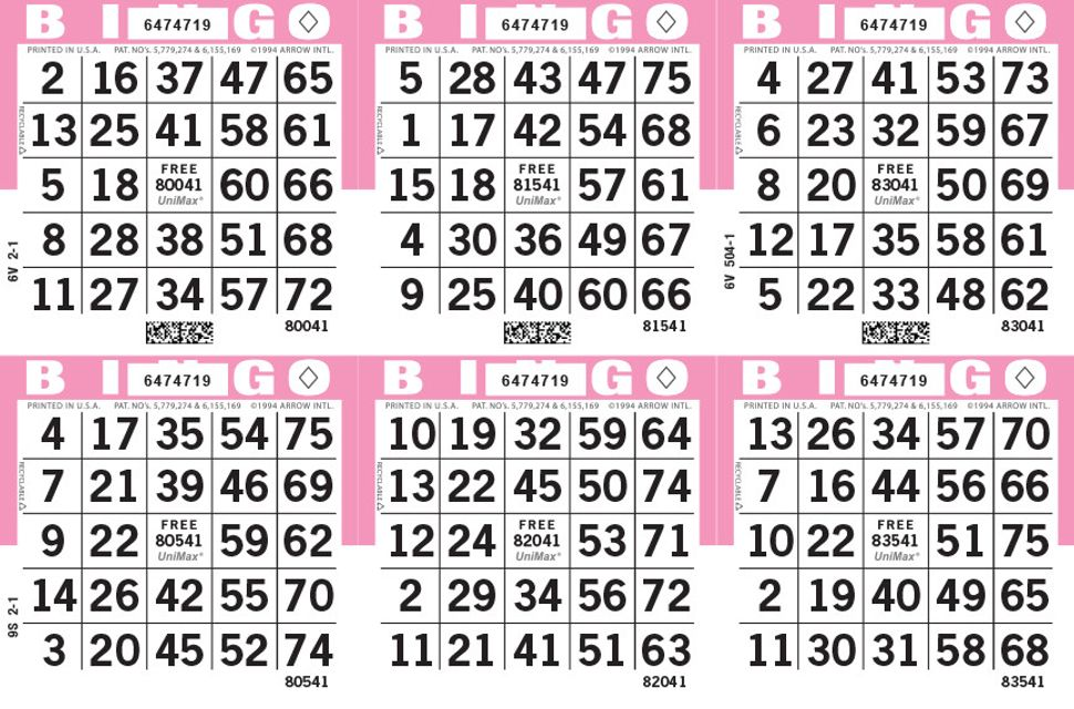 UniMax 6H Pink CMYK Bingo Paper/UniMax Cuts/6H Cuts
