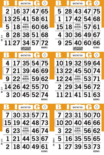 UniMax 6V Orange CMYK Bingo Paper/UniMax Cuts/6V Cuts