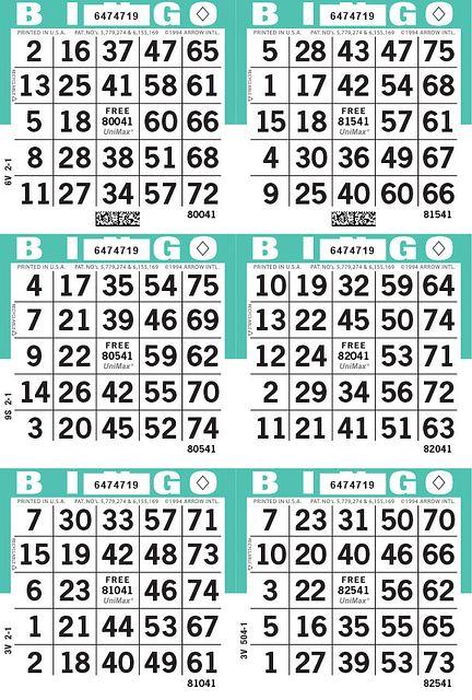 UniMax 6V Aqua CMYK Bingo Paper/UniMax Cuts/6V Cuts