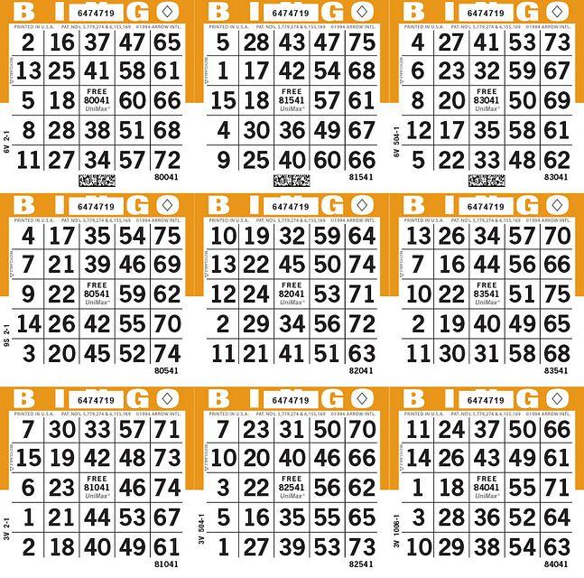UniMax 9S Orange CMYK Bingo Paper/UniMax Cuts/9S Cuts