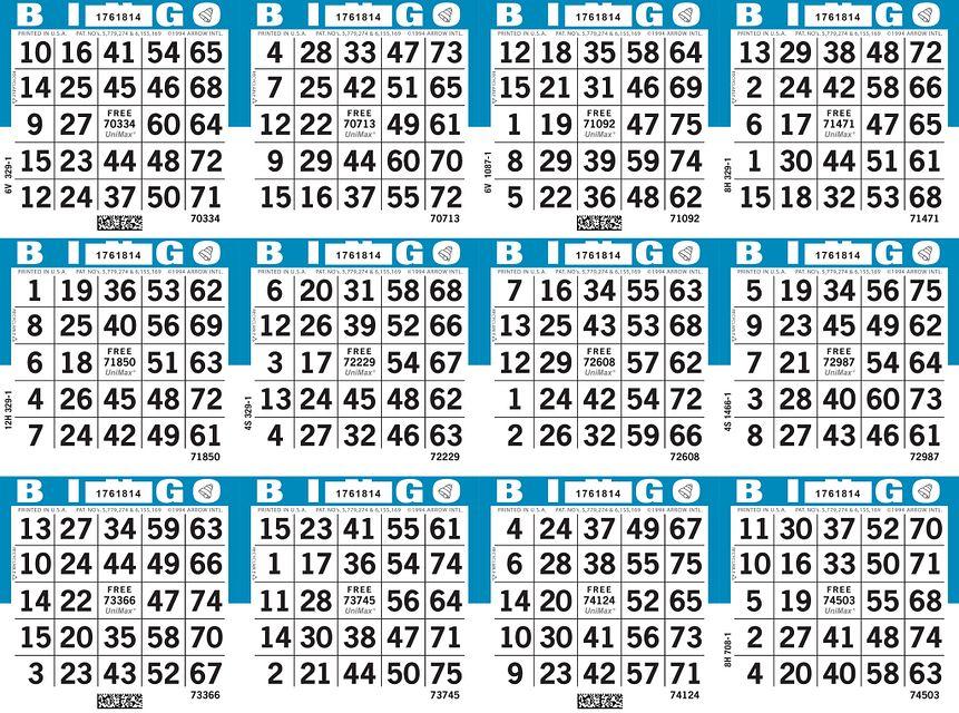 UniMax 12H4 Blue CMYK Bingo Paper/UniMax Cuts/12H Cuts