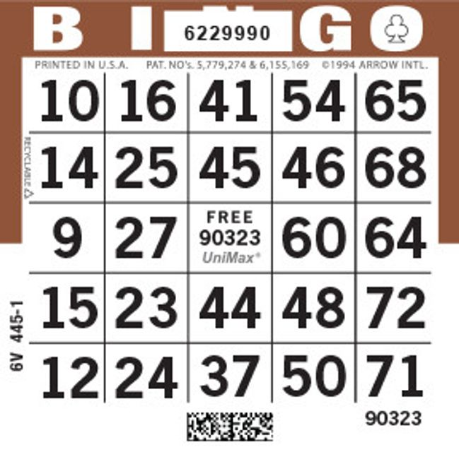 UniMax 1ON Brown CMYK Bingo Paper/UniMax Cuts/1ON Cuts