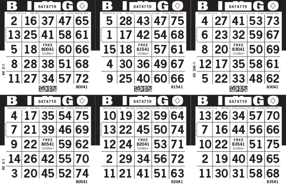 UniMax 6H Black CMYK Bingo Paper/UniMax Cuts/6H Cuts