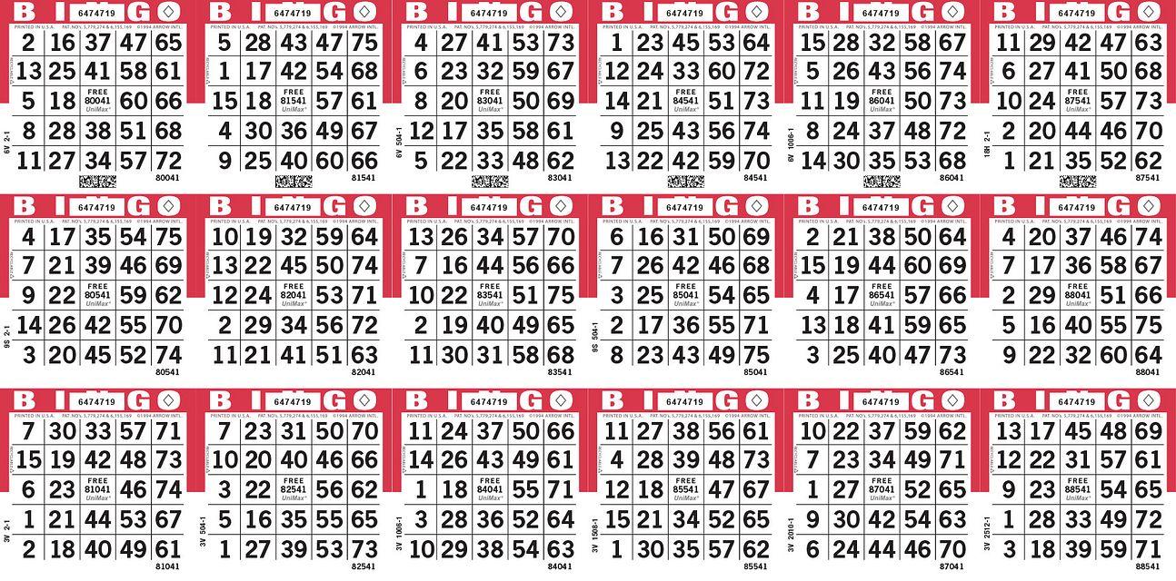 UniMax 18H Red CMYK Bingo Paper/UniMax Cuts/18H Cuts