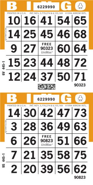 UniMax 2V Orange CMYK Bingo Paper/UniMax Cuts/2V Cuts