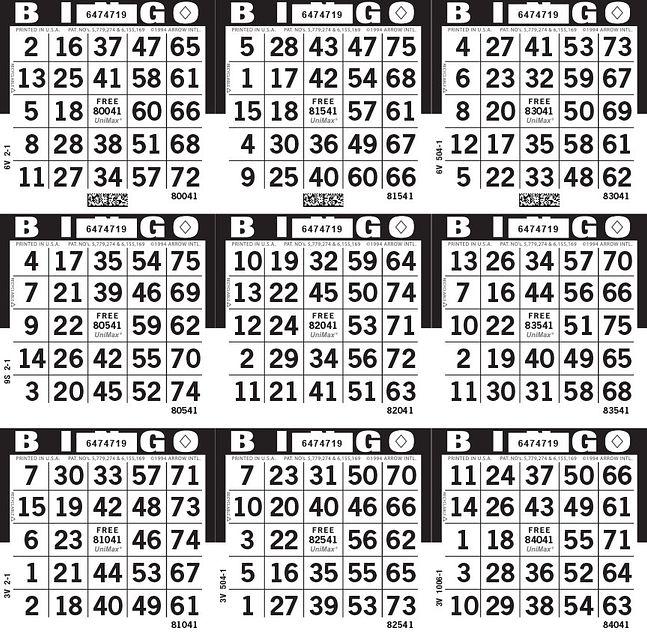UniMax 9S Black CMYK Bingo Paper/UniMax Cuts/9S Cuts